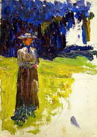 Wassily Kandinsky. Kochel - Lady Standing by the Forest's Edge,