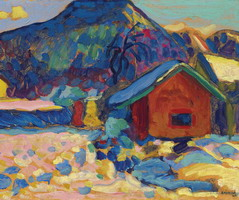 Winter study with mountain (1908) by Wassily Kandinsky